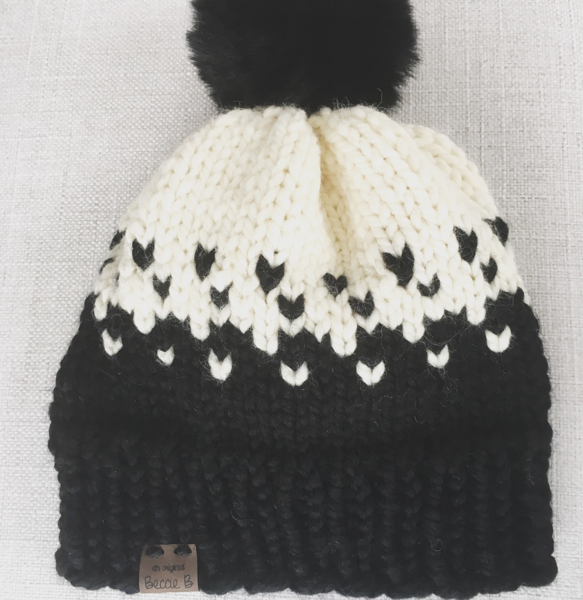 Free Knitting Pattern 2 Color Fair Isle Beanie Hat